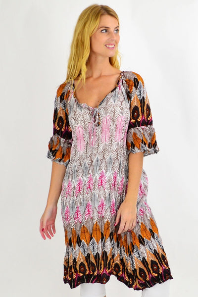 Tribal Leaf Crinkle Tie Tunic Dress | I Love Tunics | Tunic Tops | Tunic | Tunic Dresses  | womens clothing online