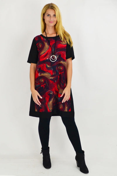 Red Swirl Linen Cotton Tunic Dress