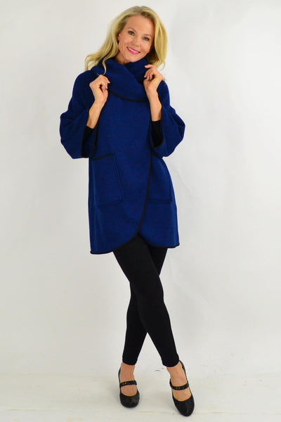 Black Trim Navy Collar Cape