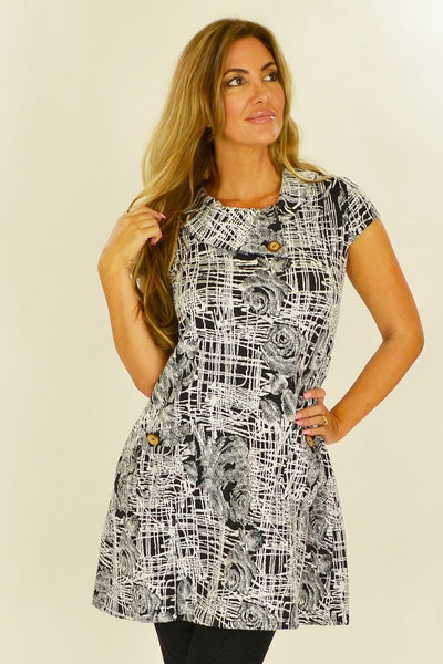 Black White Rose Tunic - at I Love Tunics @ www.ilovetunics.com = Number One! Tunics Destination