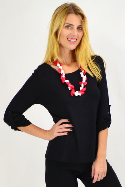 Black Button Up Long Sleeve Basic Top - I Love Tunics