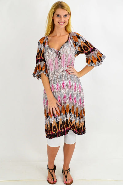 Tribal Leaf Crinkle Tie Tunic Dress