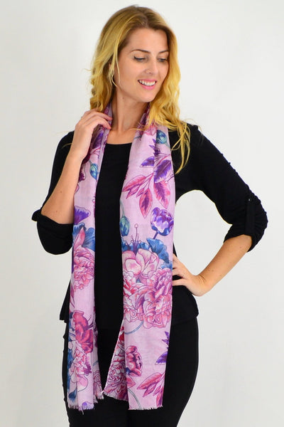 Pink Purple Floral Delight Scarf