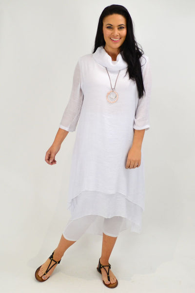 White Cowl Neck Tunic Dress
