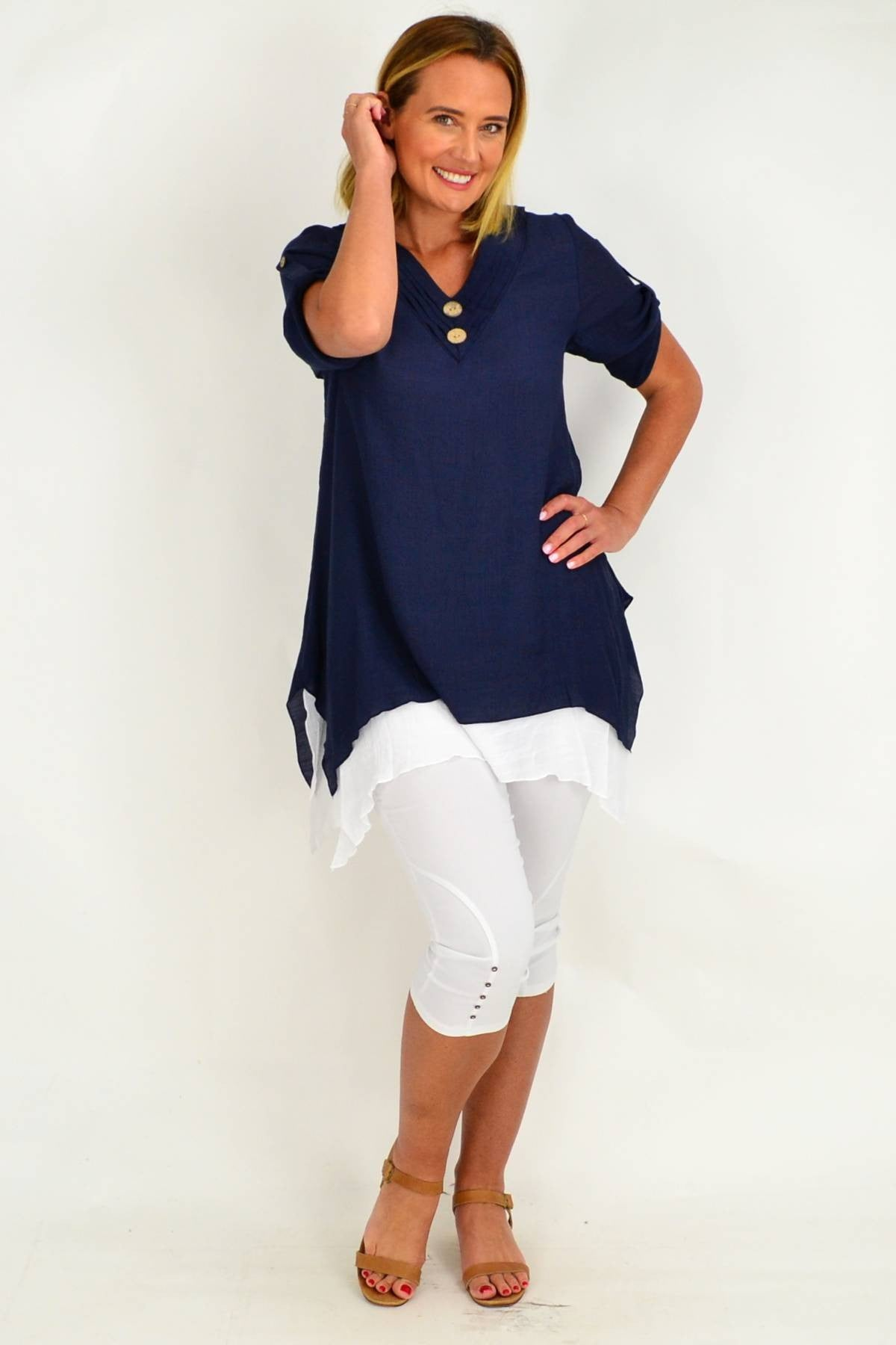 Dark Blue Short Sleeve Overlay Tunic Top | I Love Tunics | Tunic Tops | Tunic | Tunic Dresses  | womens clothing online
