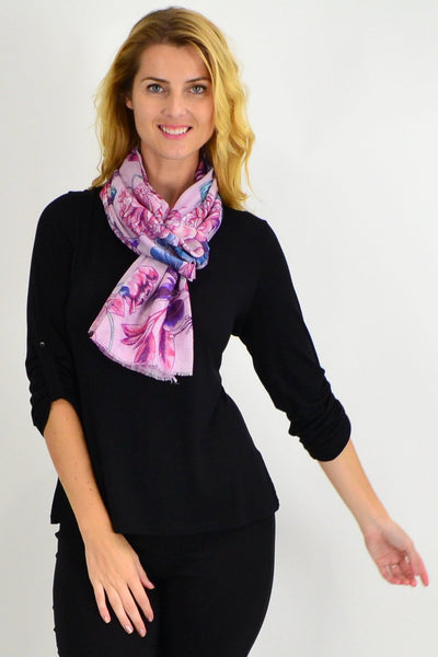 Pink Purple Floral Delight Scarf - I Love Tunics