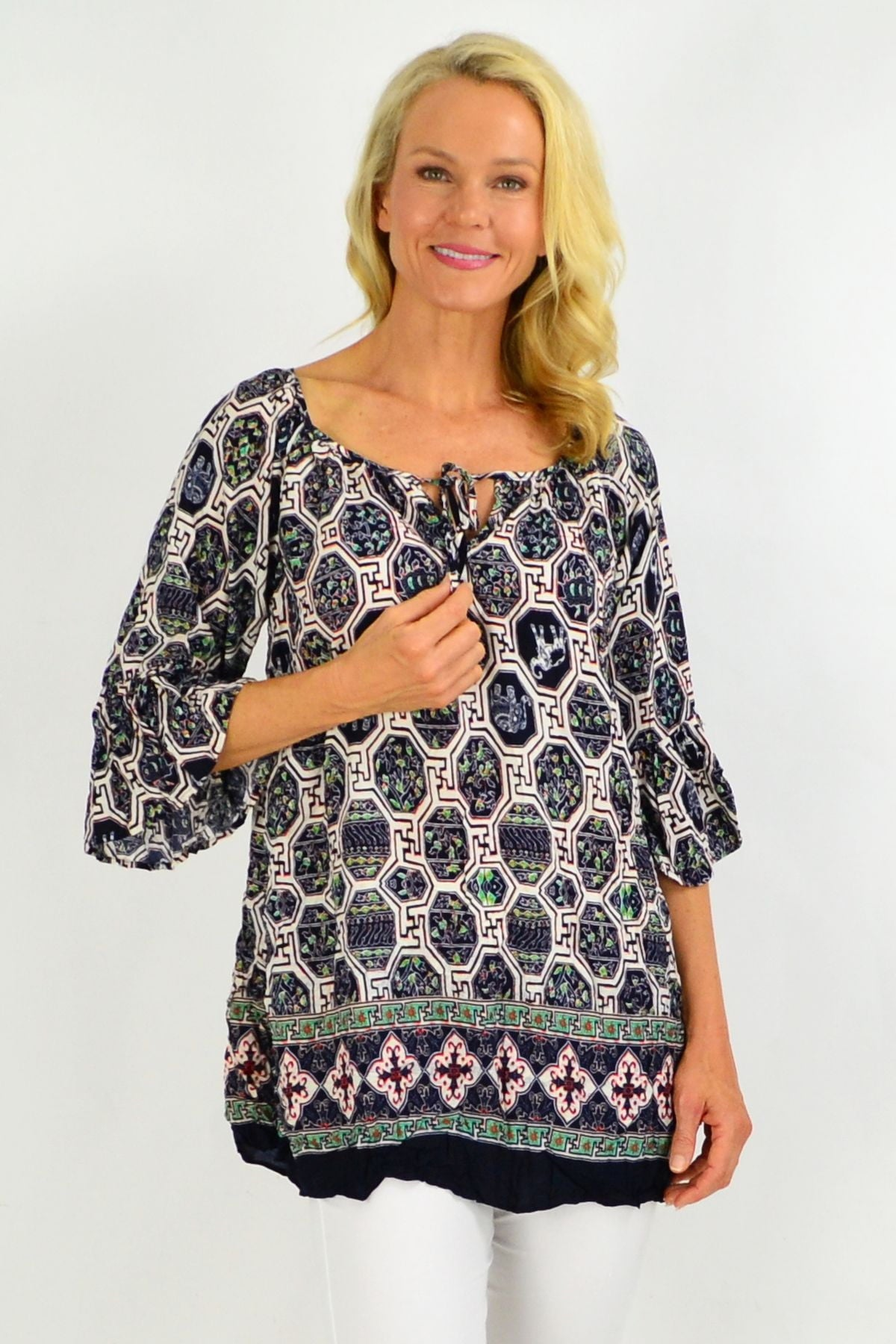 Oriental Crinkle Tie Tunic Top | I Love Tunics | Tunic Tops | Tunic | Tunic Dresses  | womens clothing online