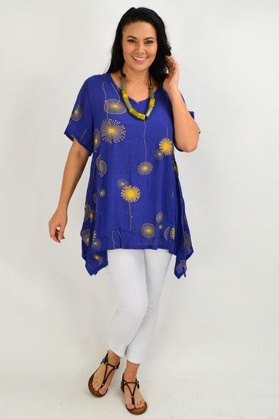 Blue Dandelion Wish Tunic Top