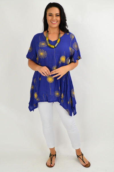 Blue Dandelion Wish Tunic Top - I Love Tunics
