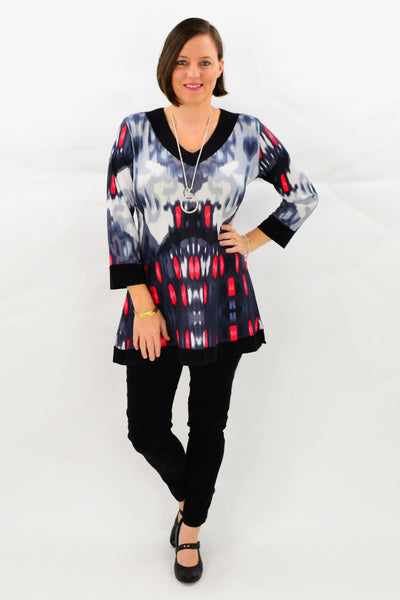 Red Veronica Tunic Top