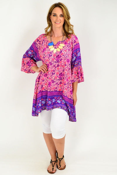 Apricot Purple Floral Bell Cuff Tunic Top