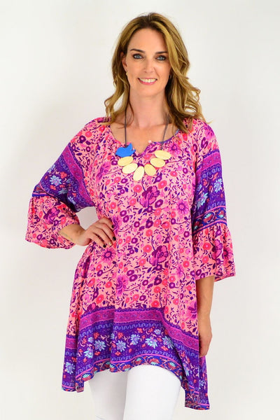 Apricot Purple Floral Bell Cuff Tunic Top | I Love Tunics | Tunic Tops | Tunic Dresses | Women's Tops | Plus Size Australia | Mature Fashion