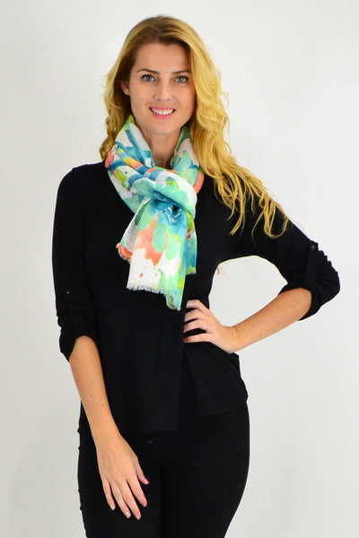Green Large Flower Print Scarf - I Love Tunics