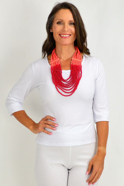 Coral Red Round Beads Necklace