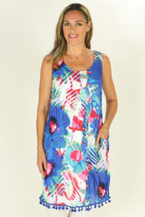 Cotton Blue Floral Tunic Dress - at I Love Tunics @ www.ilovetunics.com = Number One! Tunics Destination