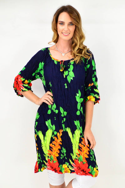 Navy Orange Floral Crinkle Tie Tunic Dress | I Love Tunics | Tunic Tops | Tunic | Tunic Dresses  | womens clothing online