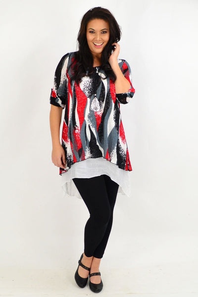 Red Ruby Swirl Tunic Top