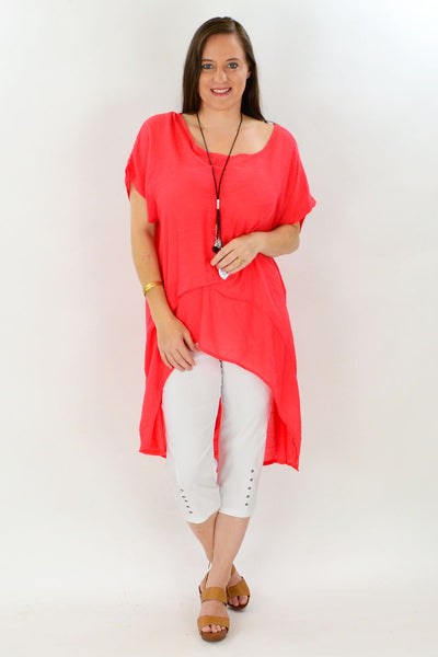 Coral Tropical Island Tunic