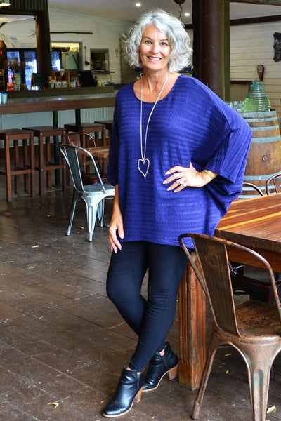 Mandy Blue Textured Knit Tunic | I Love Tunics | Tunic Tops | Tunic Dresses | Women's Tops | Plus Size Australia | Mature Fashion