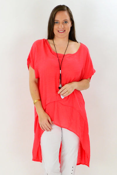 Coral Tropical Island Tunic | I Love Tunics | Tunic Tops | Tunic Dresses | Women's Tops | Plus Size Australia | Mature Fashion