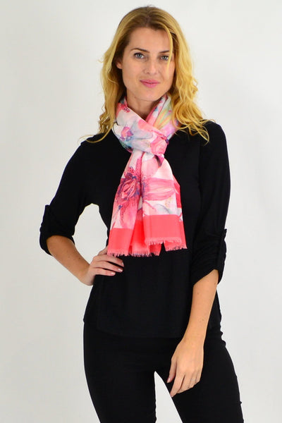Red Large Leaf Print Scarf - I Love Tunics