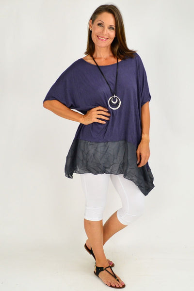 Navy Blue Heron Island Plus Size Tunic
