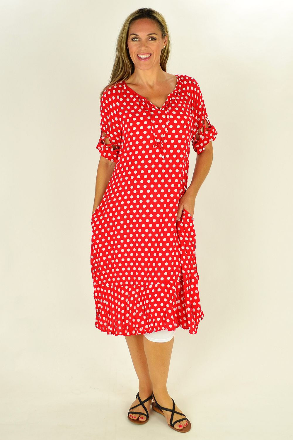 Red White Spotty Tunic Dress - at I Love Tunics @ www.ilovetunics.com = Number One! Tunics Destination