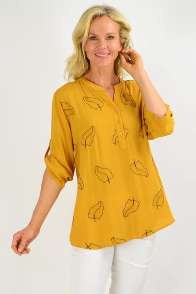 Gold Leaf Print Nehru Collar Tunic Top | I Love Tunics | Tunic Tops | Tunic | Tunic Dresses  | womens clothing online