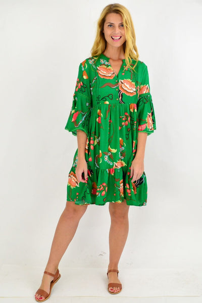 Green Betty Bell Sleeve Tunic Dress