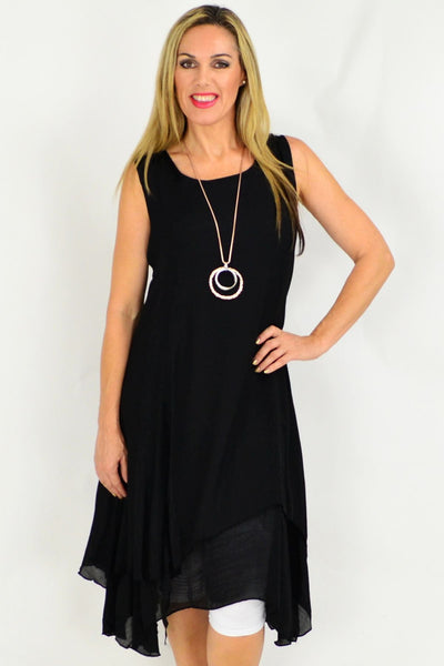 Black Long Double Layered Linen Cotton Tunic Dress | I Love Tunics | Tunic Tops | Tunic Dresses | Women's Tops | Plus Size Australia | Mature Fashion