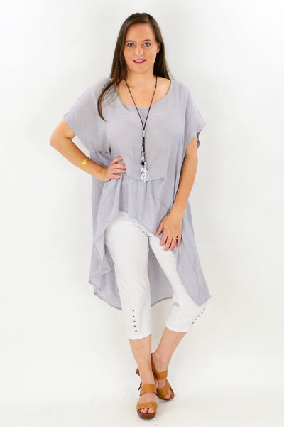 Grey Tropical Island Tunic