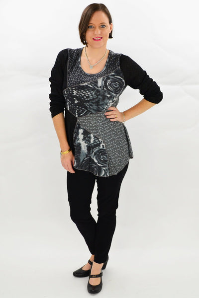 Black Grey Rose Tunic Top