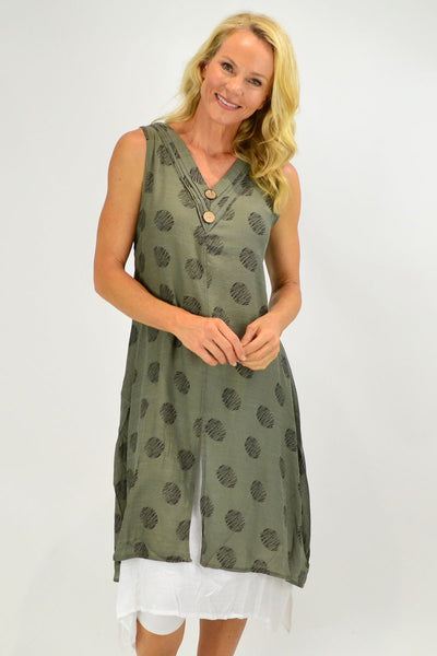 Sleeveless Khaki Dots Overlay Tunic Dress - I Love Tunics