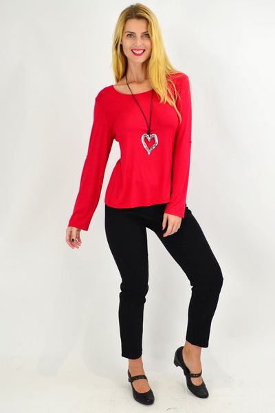 Red Button Up Long Sleeve Basic Top
