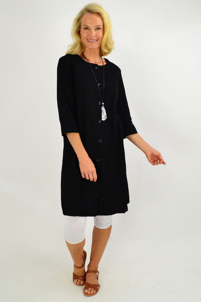 Black Button Up Tunic Dress - I Love Tunics