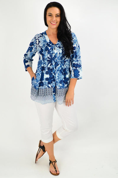 Alcazar V Neck Pleated Tunic Blouse