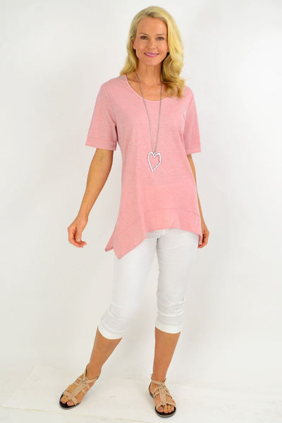 Dusty Pink Scooped Hem Tunic Top