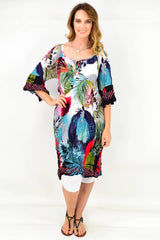 Model wearing long tunic dress in cotton mix fabric available at ilovetunics.com