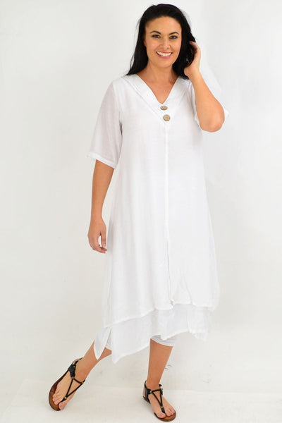 White Overlay Tunic Dress