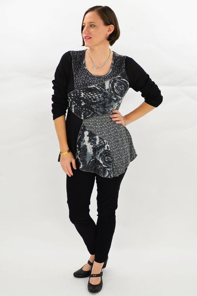 Black Grey Rose Tunic Top | I Love Tunics | Tunic Tops | Tunic Dresses | Women's Tops | Plus Size Australia | Mature Fashion