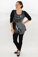 Black Grey Rose Tunic Top | I Love Tunics | Tunic Tops | Tunic | Tunic Dresses  | womens clothing online