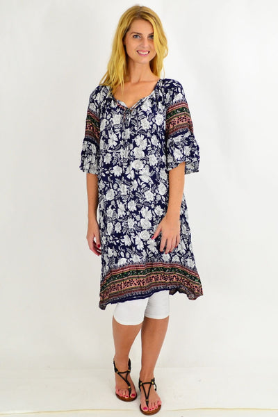 Hawaii Crinkle Tie Tunic Dress