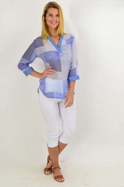 Blue Square Tunic Shirt | I Love Tunics | Tunic Tops | Tunic | Tunic Dresses  | womens clothing online