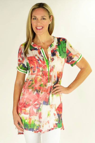 Sarah's Flowers Tunic - at I Love Tunics @ www.ilovetunics.com = Number One! Tunics Destination
