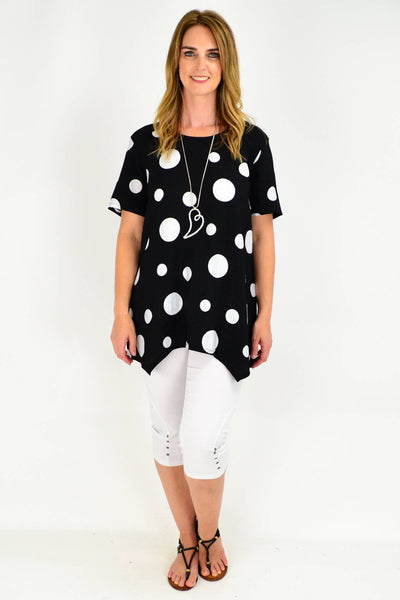 Black Spot Short Sleeve Tunic Blouse