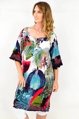 Multicoloured Palm Crinkle Tie Tunic Dress | I Love Tunics | Tunic Tops | Tunic | Tunic Dresses  | womens clothing online
