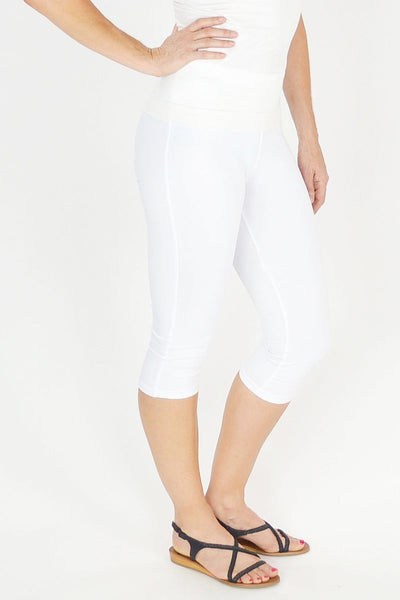 White 3/4 leggings - at I Love Tunics @ www.ilovetunics.com = Number One! Tunics Destination