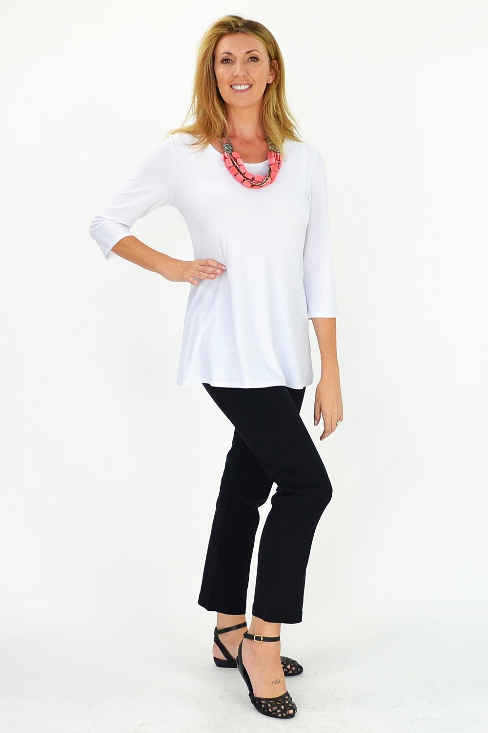 White Basic Tunic - at I Love Tunics @ www.ilovetunics.com = Number One! Tunics Destination