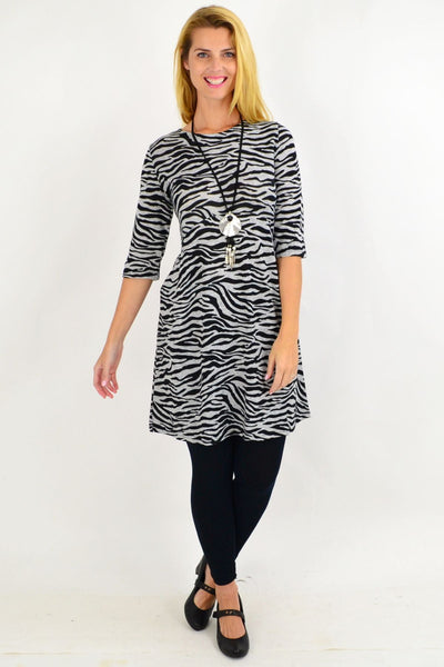 Debrah Zebra stripe Tunic Dress | I Love Tunics | Tunic Tops | Tunic | Tunic Dresses  | womens clothing online