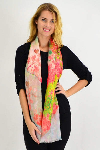 Orange Small Floral Print Scarf